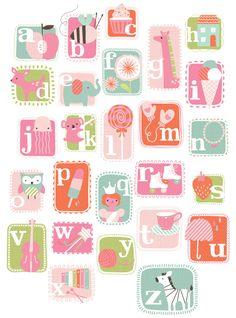 ABC GIRL by maeve parker. www.maeveparker.com Abc Alphabet, Alphabet And Numbers, Alphabet Posters, Polka Dot Rug, Alfabeto Animal, Ideas Habitaciones, Decoupage, Baby Clip Art, Kids Prints