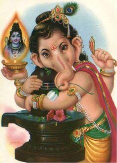 Lord Shiva & Lord Ganesha hugging Shivlinga. (Father and Son) beautiful...