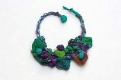 Green purple bib necklace statement knitted jewelry by rRradionica