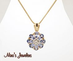 14k diamond tanzanite pendant necklace $525.00