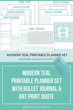 Pretty FREE modern printable planner set that includes bullet journal style pages and motivational quote printable art. The set includes a printable daily, weekly, and monthly planner spreads with a meal plan and habit tracker.