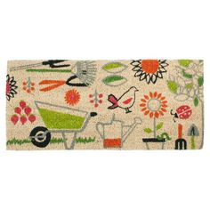 Extend a warm greeting to your guests with this lovely coir doormat, featuring a bright garden-themed motif.  Product: Doormat