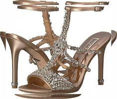 Hot Shoes, Shoes Heels, Bronze Shoes, Badgley Mischka Shoes, Rhinestone Shoes, Girls Heels, Jeweled Sandals, Satin, Evening Shoes