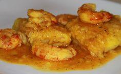 Merluza en Salsa con Gambones - Hake in Sauce with King Prawns