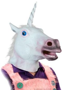 Magical Unicorn mask! Now everyone can look really creepy.