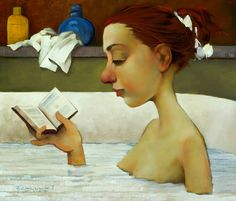 reading art by Fred Calleri People Reading, Girl Reading Book, Reading Art, Book People, Woman Reading, Norman Rockwell, Maryland, Books To Read For Women, Illustration Art