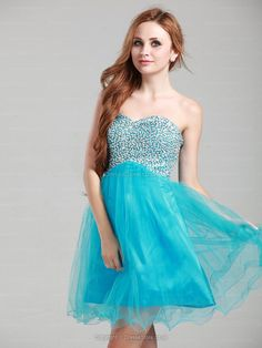 A-line Sweetheart Tulle Short/Mini Blue Beading Homecoming Dress