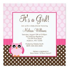 Pink Brown Owl Polka Dot Girl Baby Shower Personalized Invites