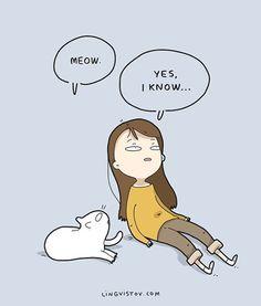 Lingvistov.com - T-shirts, books, prints, cards! #art #haha #lol #funnycomics #doodle #doodles #doodlesofinstagram #print #prints #gift #funnygirl #illustration #drawing #comics #lingvistov #jokes #cats #catlover #funnycats #pets #petsofinstagram #catlady #catladylife