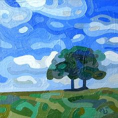 Contemporary abstract landscape painting art by Mandy Budan - Summer Friendship