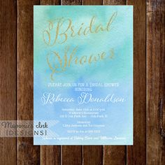 Watercolor Gold Glitter Glam Bridal Shower by MommiesInk on Etsy, $14.00