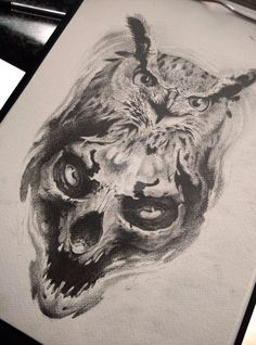 owl and skull by AndreySkull on @DeviantArt