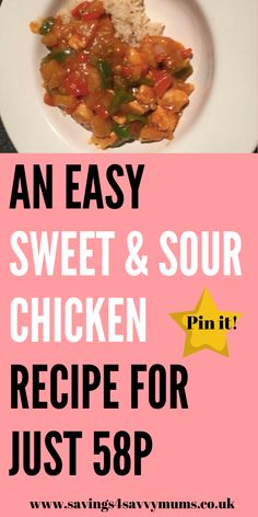 This is an easy sweet sour chicken recipe that can be made for just per person. Its simple to make in advance and can be bulk out if needed by Laura at Savings 4 Savvy Mums Budget Family Meals, Frugal Meals, Cheap Meals, Easy Meals, Family Recipes, Fun Easy Recipes, Frugal Recipes, Sweet Sour Chicken, Food Inspiration