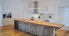 Kitchen table modern island bench Ideas for 2019 Exposed Brick Kitchen, Timber Kitchen, Wooden Kitchen, Kitchen Flooring, Kitchen Furniture, Kitchen Interior, New Kitchen, Kitchen Reno, Kitchen Decor Themes
