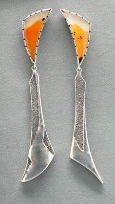 Amazingly unusual! love these~Earrings |  Jared Chavez.  Silver With Agates
