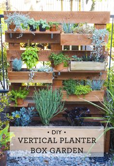 Vertical Box Planter Garden Great idea for small spaces! DIY Vertical box planter garden via Great idea for small spaces! DIY Vertical box planter garden via Vegetable Garden Planters, Vertical Garden Planters, Garden Planter Boxes, Diy Herb Garden, Home And Garden, Garden Table, Garden Shop, Vertical Herb Gardens, Outdoor Gardens