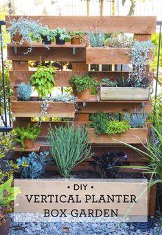 Great idea for small spaces! DIY Vertical box planter garden via happymundane.com