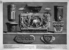 Pieces of columns, capitals, fragments of marble friezes and ornaments - Giovanni Battista Piranesi