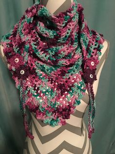 My road trip scarf using I Love This Cotton (Hobby Lobby) Fantasy Inspired by the free pattern at Zooty Owl Diy Crochet Sweater, Crochet Baby Boy Hat, Crochet Scarves, Crochet Shawl, Easy Crochet, Knitting Patterns Free, Free Pattern, Road Trip Scarf, Capes