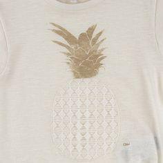 Flamed cotton and linen jersey T-shirt - Ivory Chloé для девочек | Melijoe.com