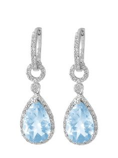 $34.99 - 6.5 Carat Blue Topaz and 1/10 Carat Diamond and Sterling Silver Teardrop Earrings
