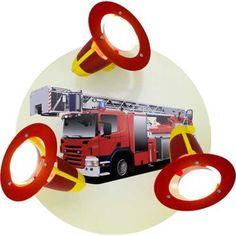 Kinderzimmerlampe Feuerwehrauto für das Kinderzimmer. Die Kinderlampe besteht aus 3 Leuchten rot und gelber Optik. Der Untergrund mit dem Feuerwehrauto ist aus Holz. Ein tolle Lampe für unsere Nachwuchsfeuerwehrmänner!