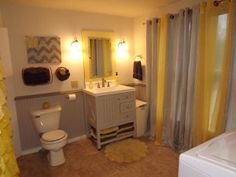 1000 images about bathroom ideas on pinterest yellow bathrooms shower curtains and yellow for Black yellow and gray bathroom