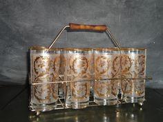 Vintage Retro Set of Eight Glasses in Metal by MissMaudVintage, $40.00