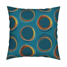 Catalan Throw Pillow featuring Solar Eclipse: MCModern_Gold and Blue by mia_valdez | Roostery Home Decor
