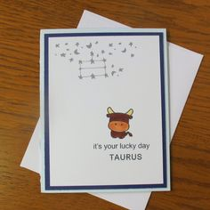 Handmade Birthday Card- Taurus Birthday // April Birthday // May Birthday // Astrology Card // Kids Birthday // Happy Birthday Card / Zodiac
