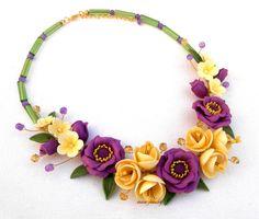 Fleur collier, collier mariage, collier fait main, instruction, bijoux Violet, jaune, Windflower, cadeau pour elle, Floral