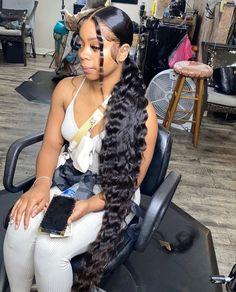 Hair Ponytail Styles, Wavy Ponytail, Black Girl Braided Hairstyles, Black Girl Braids, Baddie Hairstyles, Slick Hairstyles, Ponytail Hairstyles With Weave, Burgundy Hairstyles, Braided Ponytail Weave
