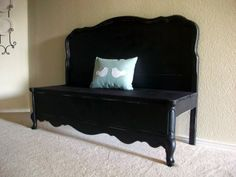 a bench made from a headboard and footboard! Goodwill/Auctions, here I come!!