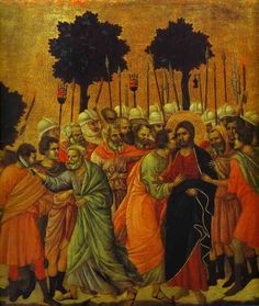 """The Betrayal of Christ"" (detail of the Maesta Altarpiece) by Duccio di Buoninsegna (Italian). Tempera and gold on wood. x Opera del Duomo, Siena, Italy. Italian Paintings, European Paintings, Duccio Di Buoninsegna, Renaissance Kunst, High Renaissance, Web Gallery Of Art, Oil Painting Reproductions, Italian Art, Medieval Art"