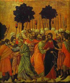 Duccio di Buoninsegna ~ Jesus Captured (detail), 1308-11 (tempera on panel)