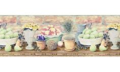 Galerie Aquarius Lemons Kitchen Wallpaper Border, Blue