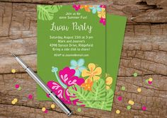 Make the season feel like a summer-long weekend in Maui. Throw one, two, maybe even three luaus! | Invitations sold on the Julie Bluet Etsy.