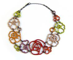 Enameled Flower Necklace by The Green Petal.