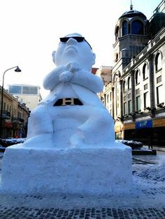 20 Foot snow sculpture of Psy featured in Chinese Snow Sculpture Festival