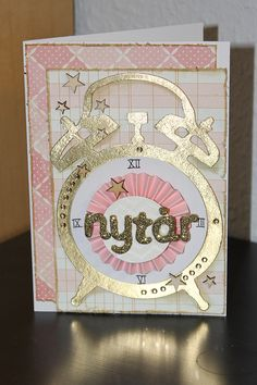 card clock new year sizzix bigz Picturing the World: Happy new year. Susanne design StjerneSus pink gold white  tim holtz clock #clock