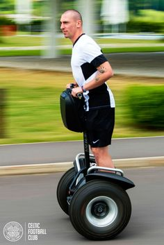 Scott Brown masters the Segway during Celtic's pre-season training camp in Austria