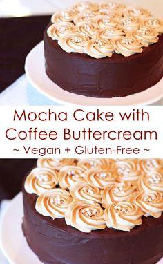 Mocha Cake with Coffee Buttercream (Vegan, Dairy-Free, Gluten-Free Recipe!)