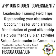 A Message for #StarInternationalAcademy #StudentGovernment #SIASG: We need students running for Grades 7-12. Apply today at hessga.com/join Elections are on November 4!