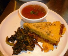 Vegan Polenta Tort  with Braised Kale and Roast Pepper-Tomato Soup
