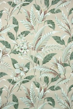 1950s botanical vintage wallpaper   Hannah's Treasures Vintage Wallpaper