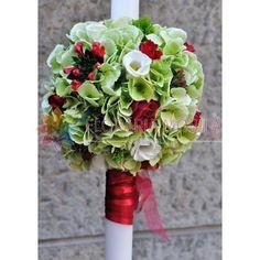 lumanari de nunta din hortensie verde si bouvardia Green