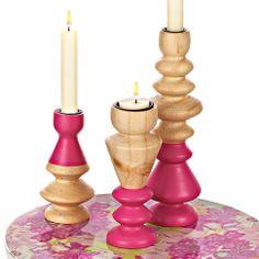 Kerzenhalter-Set, 3-tlg. in natur/pink bei IMPRESSIONEN