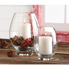 Tag Clear Glass Large Lotus Hurricane Candle Holder - The Home Depot Christmas Table Decorations, Christmas Candles, Holiday Decor, Christmas Candle Holders, Holiday Ideas, Simple Christmas, Christmas Home, Christmas Wreaths, Advent Wreaths