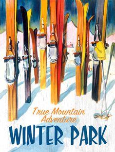 CUSTOMIZABLE Vintage Winter Park Ski Wood Sign Art