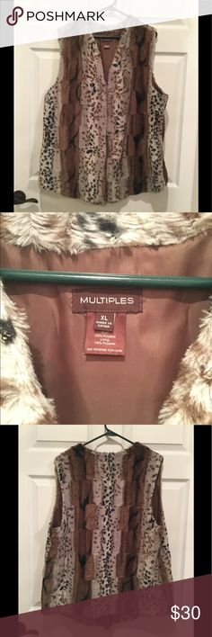 Faux Fur Vest Multiples faux fur animal print vest. Front hook closure. 100% polyester lining. Great shape. Only worn a couple of times. Multiples Jackets & Coats Vests